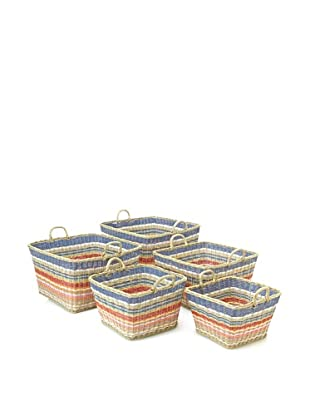Jeffan Set of 5 Funstripes Square Baskets, Multicolor