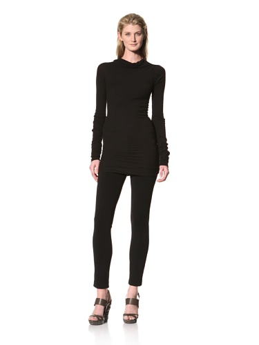 RICK OWENS Women's Long Sleeve Boatneck Top (Black)
