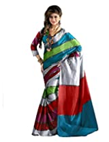 Paaneri Multi Colour with Silver Strips Blended Cotton Saree_15103503505