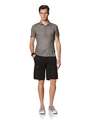 John Varvatos Star USA Men's Short Sleeve Polo with Extended Placket (Oxide)
