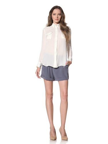 La Fee Verte Women's Pocket Blouse (Ivory)