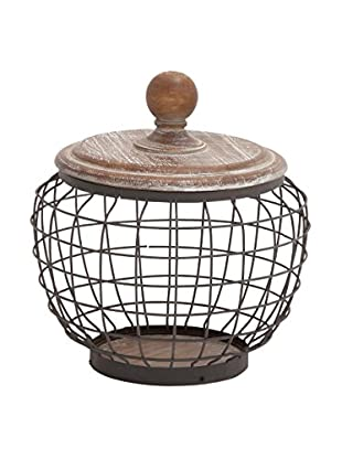Metal and Wood Wire Short Jar