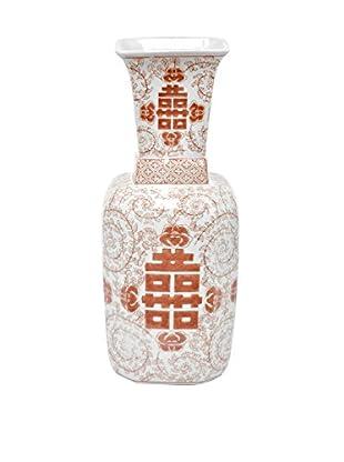 Three Hands Squared Red/White Ceramic Vase