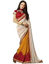 KVS FAB Yellow White Georgette Jacquard Saree