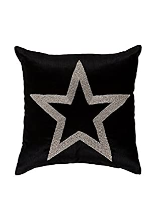 Torre & Tagus Glam Beaded Star Cushion, Black