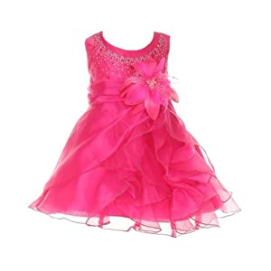 Cinderella Couture Baby-Girls Cascading Organza Dress Fuchsia Med 12M (B1101)