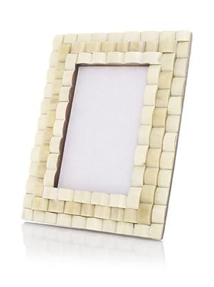 Purva Thick Knot 3-Layer Bone Picture Frame (White/Tan)