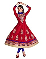 Khushali Presents Embroidered Cotton Anarkali Dress Material(Red,Blue)
