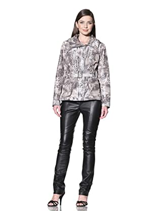 Calvin Klein Women's Printed Utility Jacket (Grey/Black)