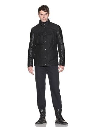 John Varvatos Men's Jacket with Leather Sleeves