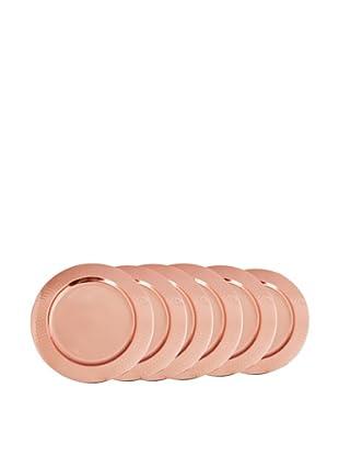 Old Dutch International Set of 6 Décor Copper Hammered Rim Charger Plates