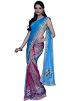Robin-egg Blue and Red-violet Net Embroidered Lehenga Style Saree