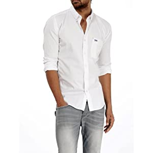 BASICS CASUAL PLAIN WHITE 100% COTTON SLIM SHIRTS