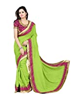 Zoom Beautiful Green Georgette with Stunny Sleeve work Saree