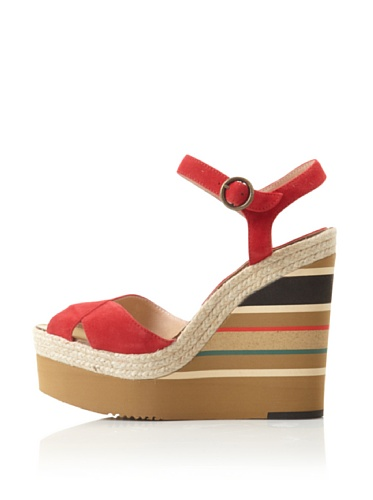 André Assous Women's Pipoan Wedge Sandal (Red Suede)
