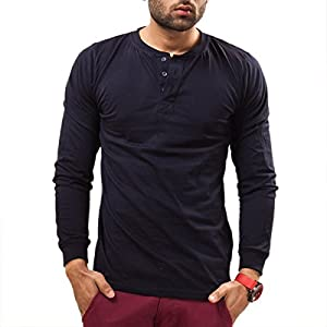 Unisopent Designs Men's Button Front Long Sleeve Full Sleeve Cotton T-Shirt [Navy Blue_X-Large]