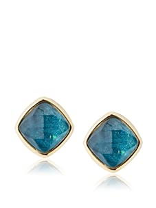 Kara Ross Watersnake Stud Clip-On Earrings, Teal