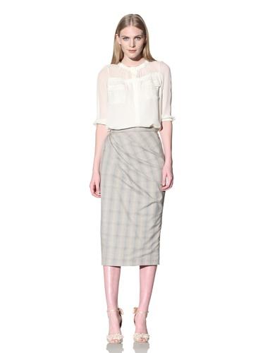 Byron Lars Women's Glen Plaid Pencil Skirt (Maize)