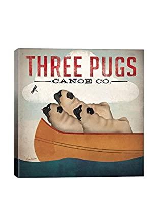 Ryan Fowler 3 Pugs In A Canoe V.3 Gallery Wrapped Canvas Print