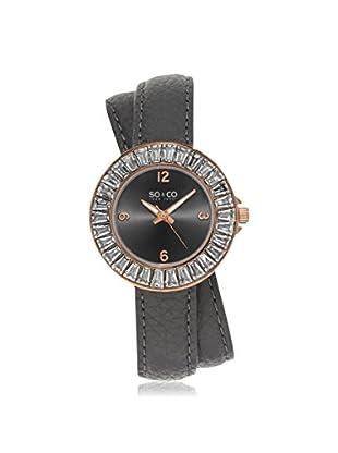 SO & CO Women's 5070.4 SoHo Grey Leather Watch