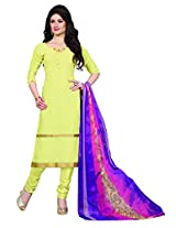 Khushali Presents Embroidered Georgette Dress Material(Light Yellow)