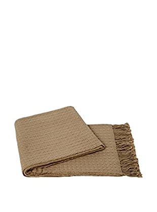 a & R Cashmere Waffleweave Throw, Oat