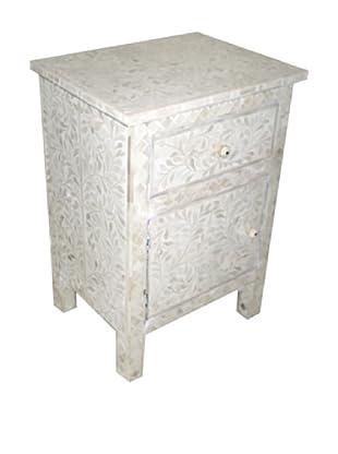 Mili Designs 1 Drawer 1 Door Geo Design Bone Inlay Bedside, White/White