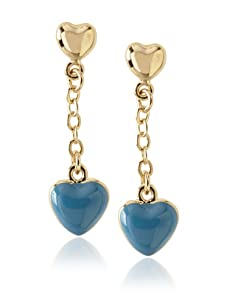 Frida Girl Blue Enamel Hanging Heart Earrings