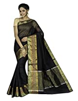 Korni Cotton Silk Banarasi Saree DS-1504- Black KR0454