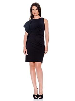 Caramelo Vestido Detalle Lateral (Negro)