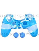 Sony PS4 Controller High Quality Protective Silicone Case Blue White with 2 Blue Silicone Thumb Grips