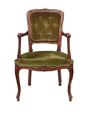 19th-Century French Louis XV-Style Armchair, Brown/Green