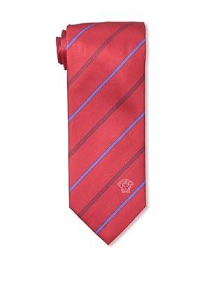 Versace Men's Striped Tie, Red/Blue/Black