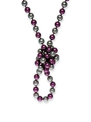 Perldor - 60650205 Collar de mujer Gris de ley con perla natural Violeta/Gris 90 cm