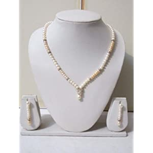 Trendy Souk Magnificent Grey & Peach Pearls Necklace Set (TRENDY03)