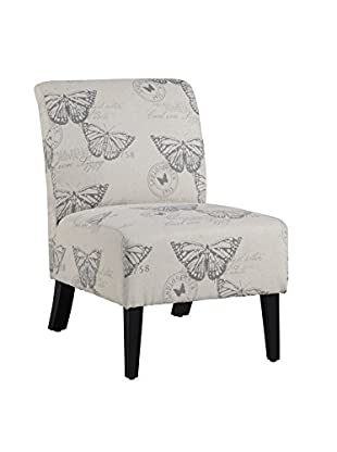 Linon Home Décor Linen Butterfly Lily Chair, Dark Espresso