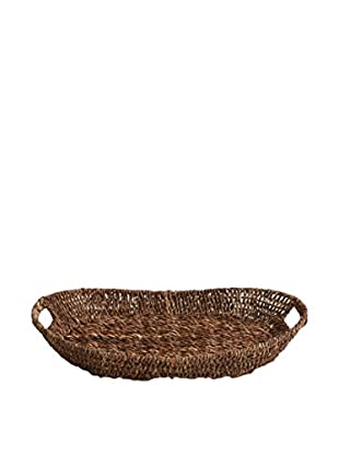 Woodard & Charles Abaca Oval Tapered Serving Tray, Brown