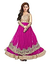 Clickedia Womens Faux Georgette Anarkali Salwar Suit Set (Karishma Red Palazzo _Red Pink _Free Size)