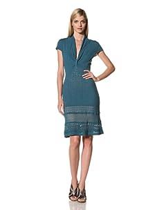 Catherine Malandrino Women's Deep V Pointelle Dress (Teal)