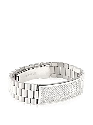 Stephen Oliver Men's Stainless Steel CZ ID Bracelet