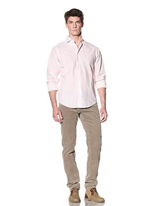 GANT by Michael Bastian Men's Stripe White Spread Collar Shirt (Cardinal)