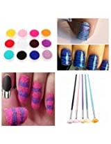 12 Color Velvet Powder Dust 5 PCS Fan Brush Nail Art Set