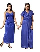 KuuKee Women's Satin RoyalBlue colored nightwear (10037_RoyalBlue_L)