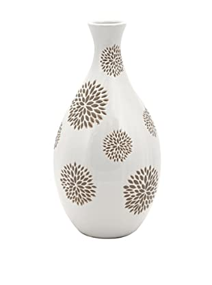 Essentials Vase with Flower Pattern, White/Taupe
