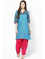 Blue Printed Kurta Patiala Set Shree