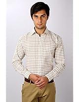 White House Light Brown Checkered Regular Fit Formal Shirt