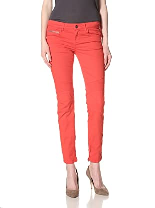 Rockstar Denim Women's Biker Twill Skinny Jean (Poppy Red)