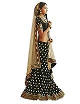 Suchi Womens Georgette Lehenga Dress Material (Sfrap90095 _Black And White _Free Size)