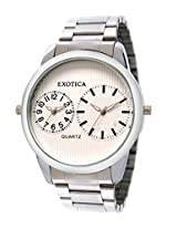Exotica Analog White Dial Men's Watch (EF-55-Dual-St-W)