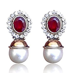 Elegant red stone with pearl earring by adiva v74m dds 13